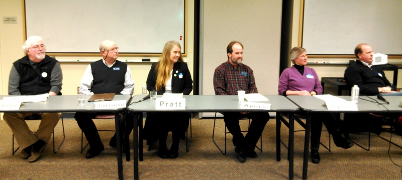 Candidates for Council positions representing San Juan Island and Orcas Island speak at the Eagle Forum. From left: Marc Forlenza, Bob Jarman, Lovel Pratt, Greg Ayers, Lisa Byers and Rick Hughes