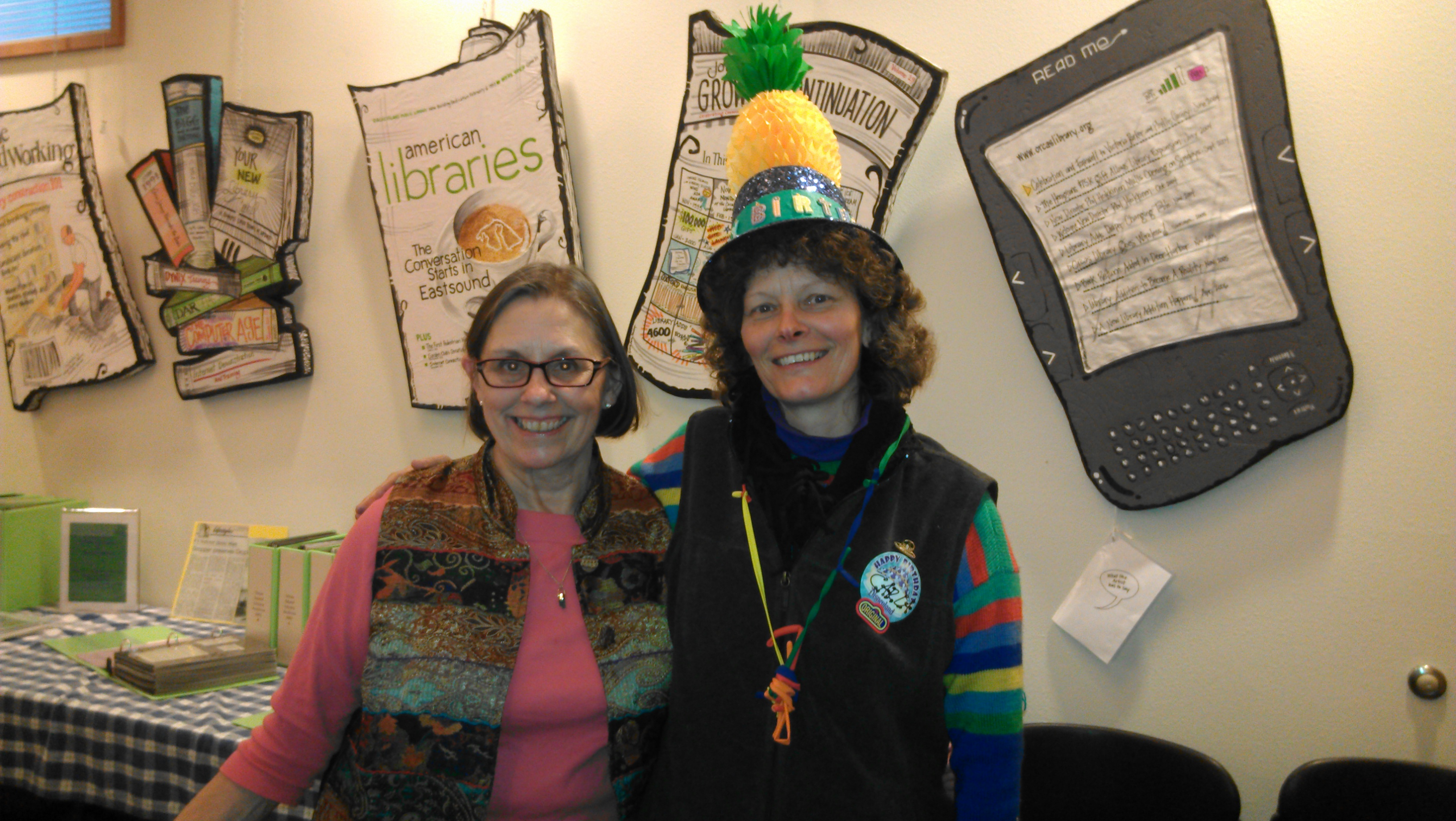 Marcia Spees and Carla Stanley at the Orcas Public Library party