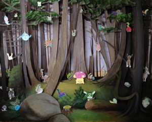 Paula Towne's 6th grade students worked with artist Brook Meinhardt to create this magical forest