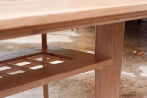 A finely detailed and finished Orcas Alderwood table by master craftsman Jonathan Loop