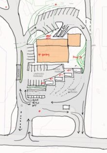"The roadwork begins at the Orcas Transfer Station. The ""new"" Exchange is the brown building at the top (north) of this map"