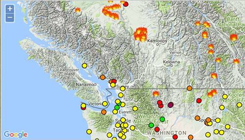 Fire Map Washington State 2017.State Issues Air Quality Alert Updated Orcas Issues News Views