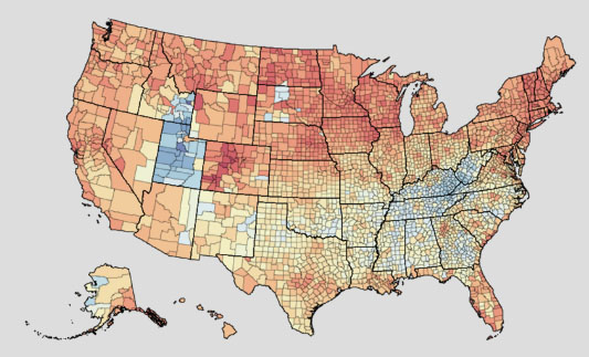 Interactive Map Shows Obesity, Drinking Rates for U.S. Counties ...